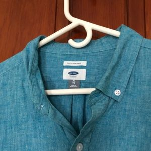 Old Navy Shirts - Teal Linen Blend Button Down